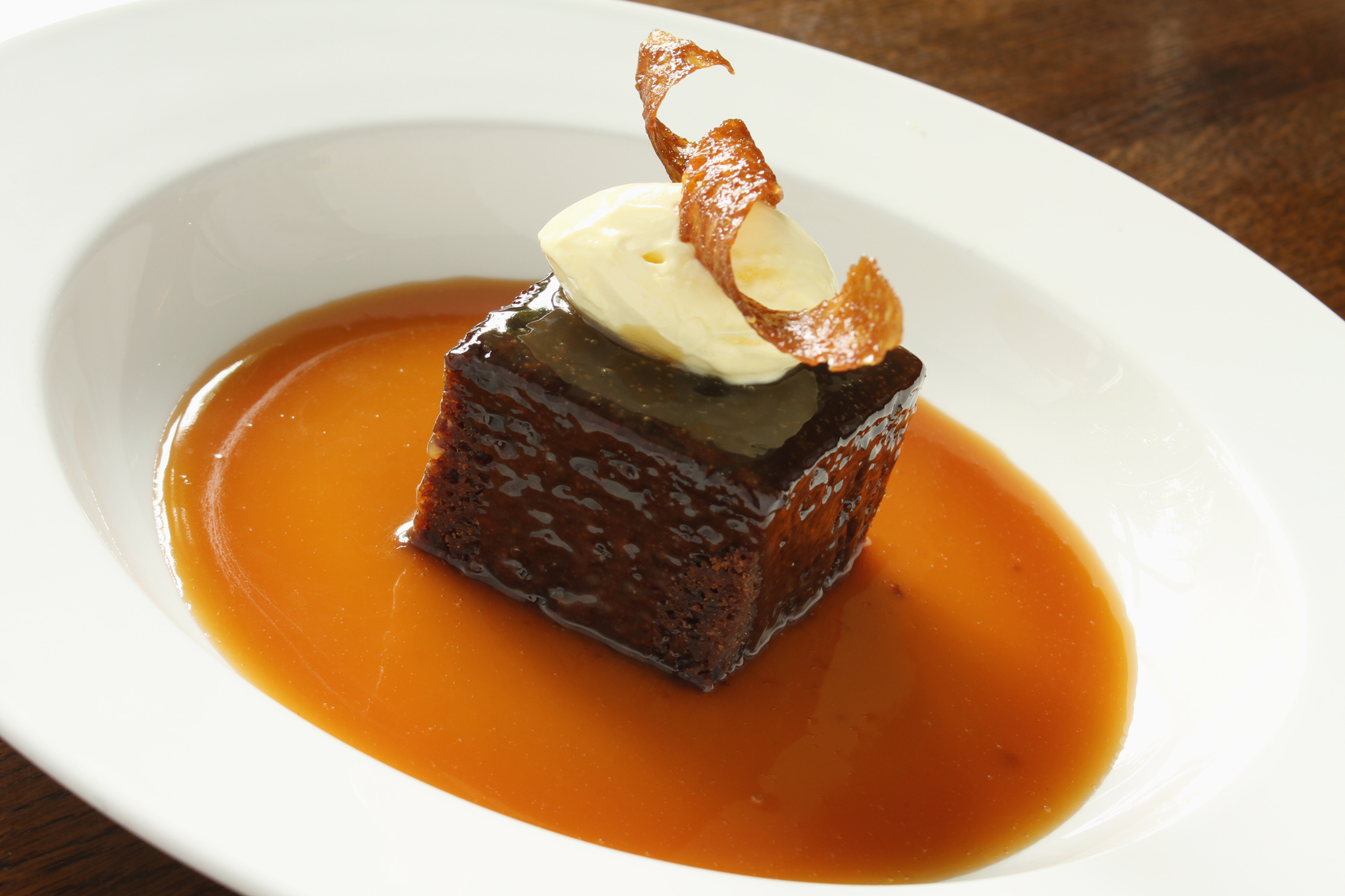 Mandarijn en maple in sticky toffee pudding
